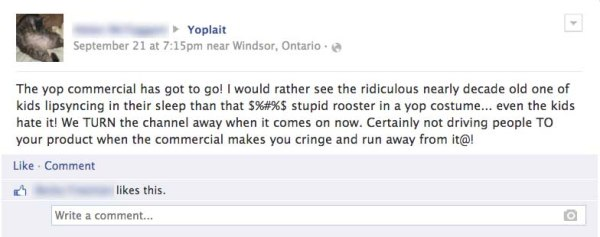 It looks like I'm not the only one who's  not impressed with the new commercials! Source: https://www.facebook.com/yopcanada